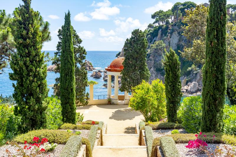 Marimurtra botanical garden in Blanes near Barcelona, Spain royalty free stock photography