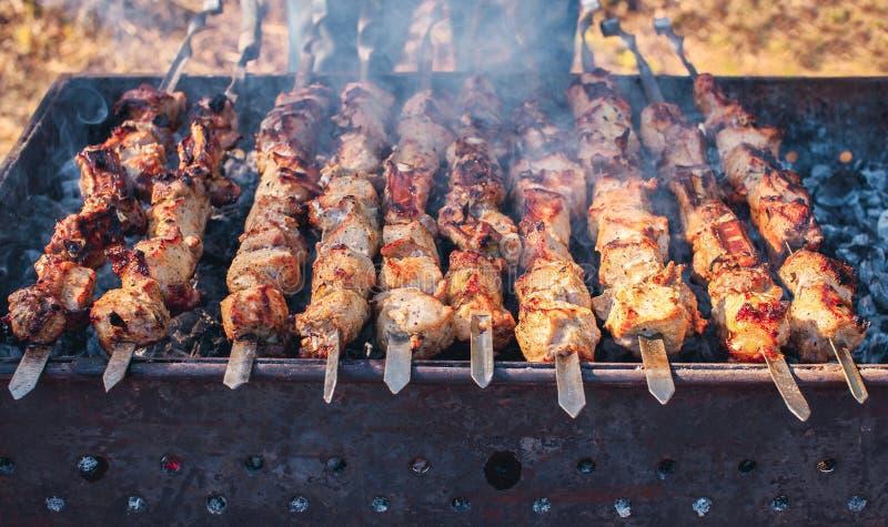 Mariné en épices, la coupe dans des morceaux et mis dessus un porc de brochette a rôti sur des charbons images stock