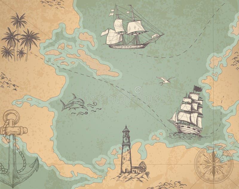 Marin- översikt för tappningvektor royaltyfri illustrationer
