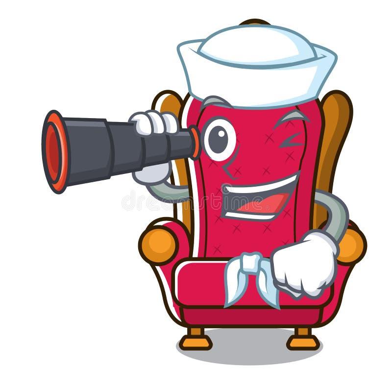 Marin avec la bande dessinée binoculaire de mascotte de trône de roi illustration stock