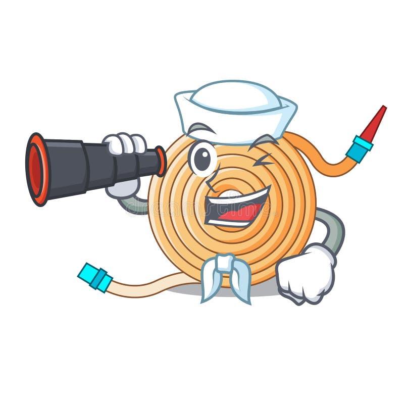 Marin avec le tuyau binoculaire de l'eau pour s'éteindre le feu illustration libre de droits