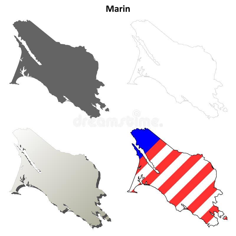 Marin County, grupo do mapa do esboço de Califórnia ilustração stock