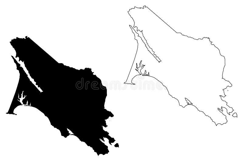Marin County, vetor do mapa de Califórnia ilustração stock