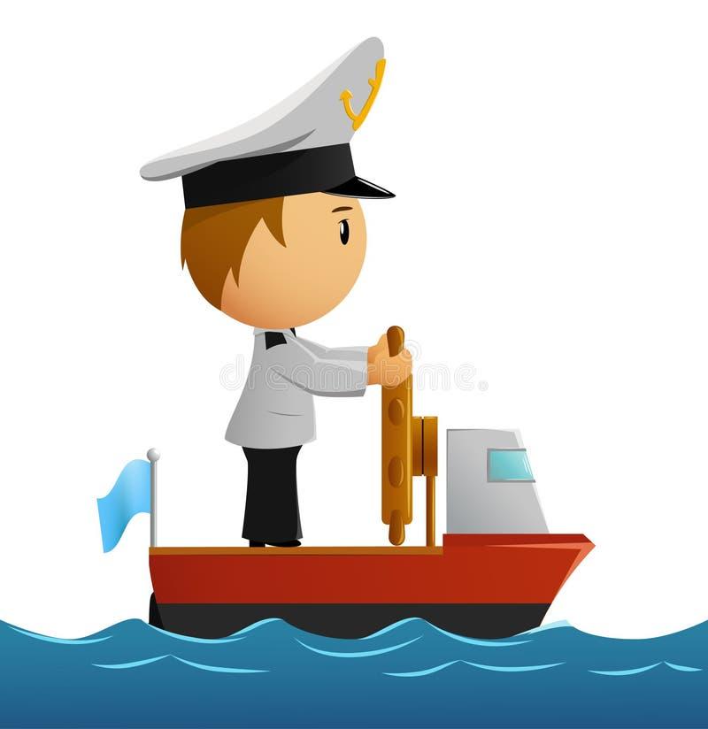 Marin de pilote de dessin animé dans l'uniforme sur le bateau illustration de vecteur