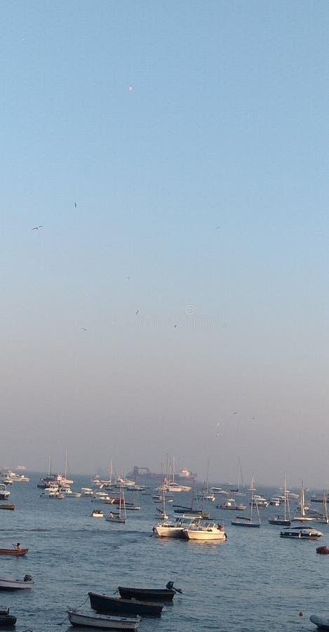 Marin- drevmumbaport Indien Arabian Sea arkivfoto