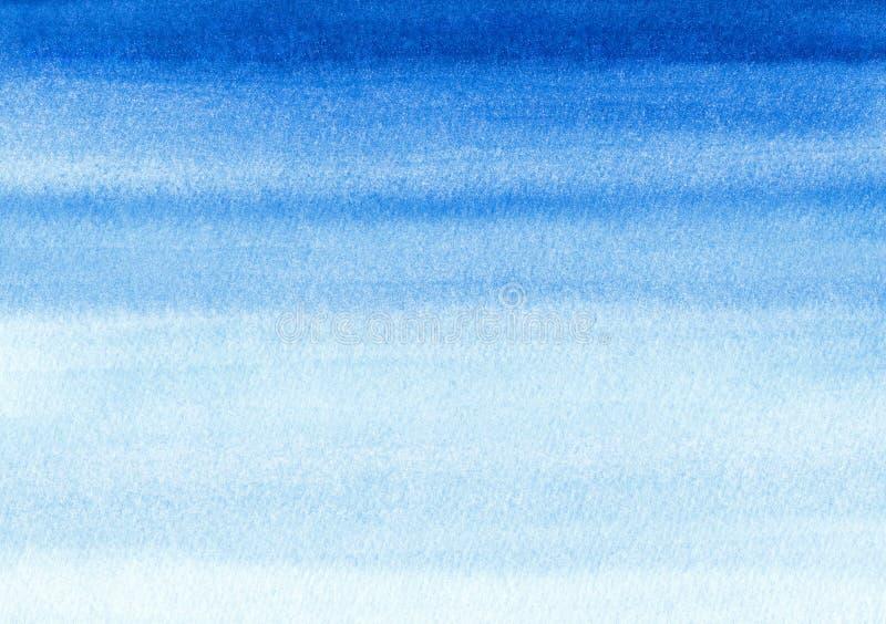 Marin- eller marinblå bakgrund för vattenfärglutningpåfyllning Akvarellfläckar Abstrakt begrepp målad mall med pappers- textur Bl royaltyfria bilder