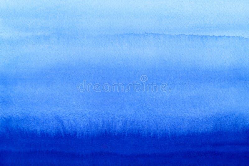 Marin- eller marinblå bakgrund för vattenfärglutningpåfyllning Akvarellfläckar Abstrakt begrepp målad mall med pappers- textur Bl royaltyfri bild