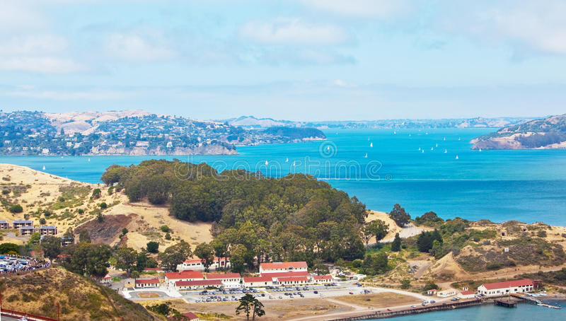 Marin Headlands. San Francisco bay by the Golden Gate bridge and Marin Headlands stock photo