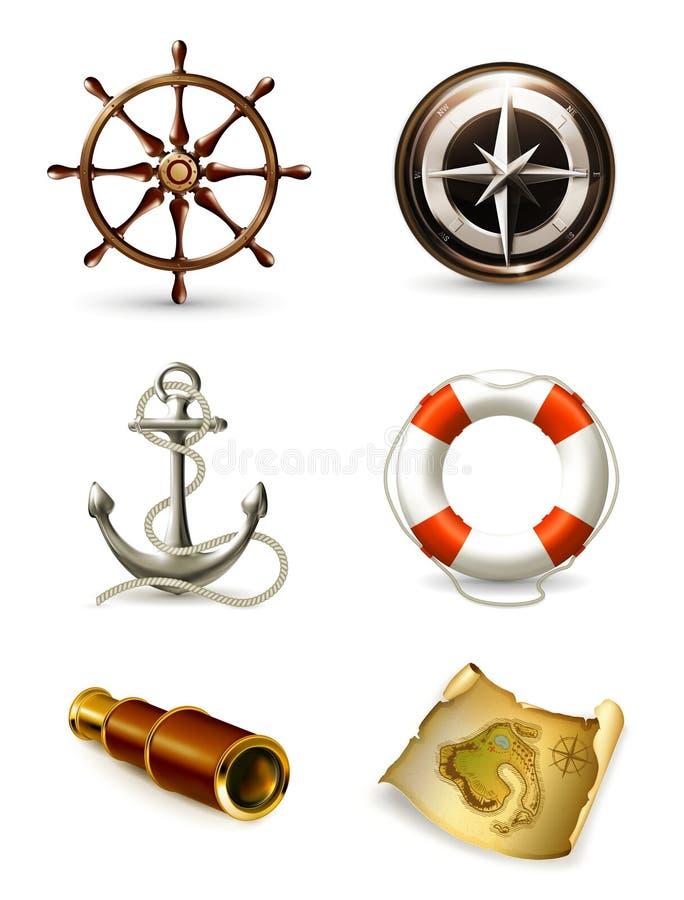 marin- kvalitetsset för höga symboler stock illustrationer