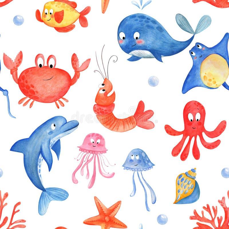 Marin- liv: bläckfisk manet, stingrocka, snäckskal, korall, delfin, fisk, sjöstjärna Sömlös ca vektor illustrationer