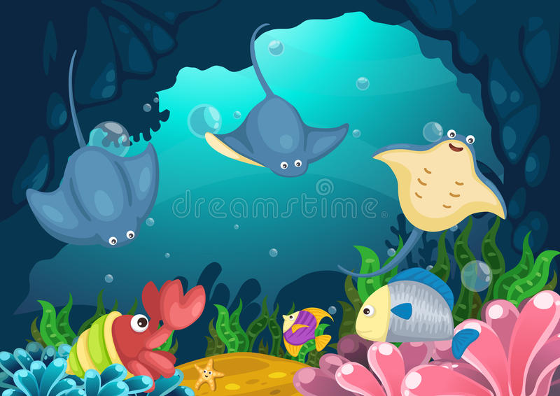 Marin- liv under havet stock illustrationer
