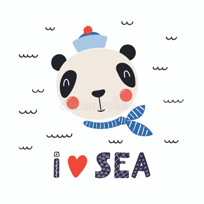 Marin mignon de panda illustration stock