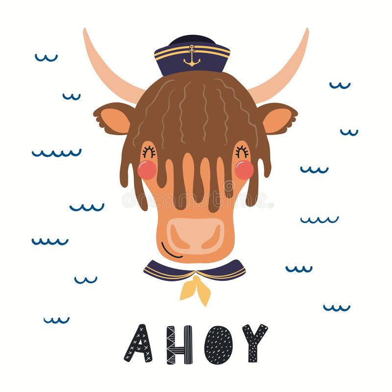 Marin mignon de yaks illustration de vecteur