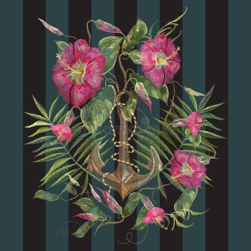 Marin- modell för broderi med exotiska blommor och ankaret vektor illustrationer