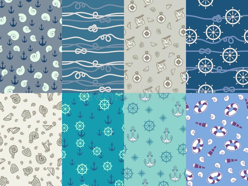Marin- modeller Marinankare, blå havstextur och uppsättning för vektor för modell för nautisk kompass för hav sömlös vektor illustrationer