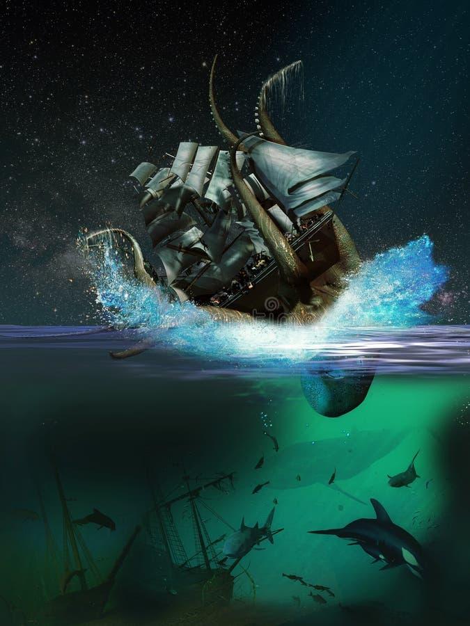 Marin- monster royaltyfri illustrationer