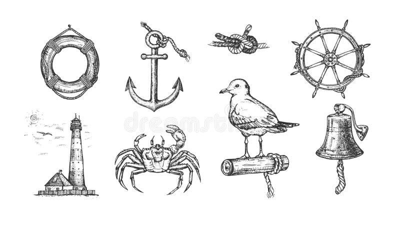 Marin- nautisk uppsättning stock illustrationer