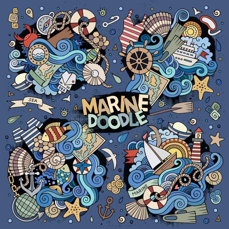 Marin- nautisk vektorklotterdesign stock illustrationer