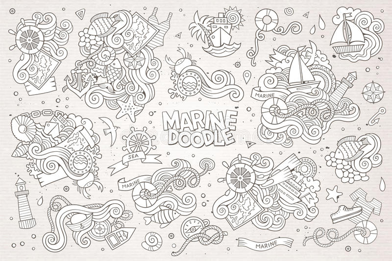 Marin- nautiska handvektorsymboler och objekt stock illustrationer