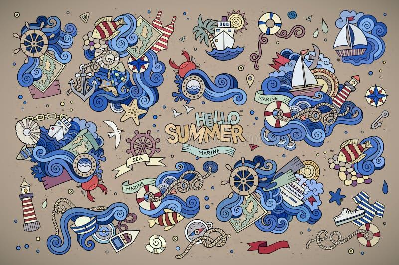 Marin- nautiska handvektorsymboler och objekt royaltyfri illustrationer