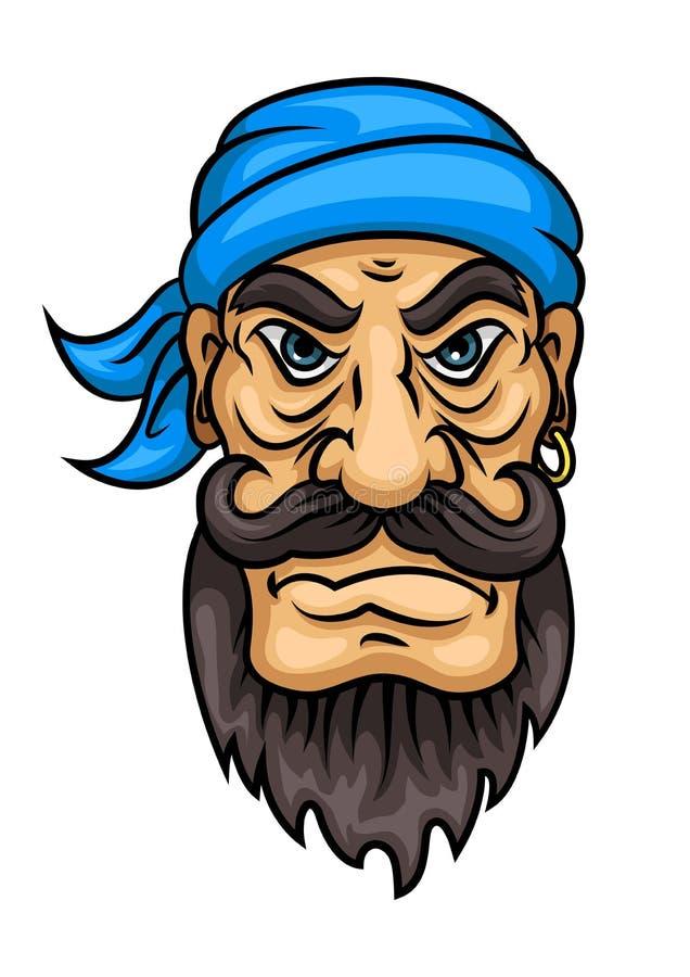 Marin ou capitaine barbu de pirate de bande dessinée illustration stock