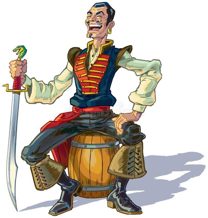 Marin ou pirate Arabe de bande dessinée de vecteur s'asseyant sur le baril illustration stock