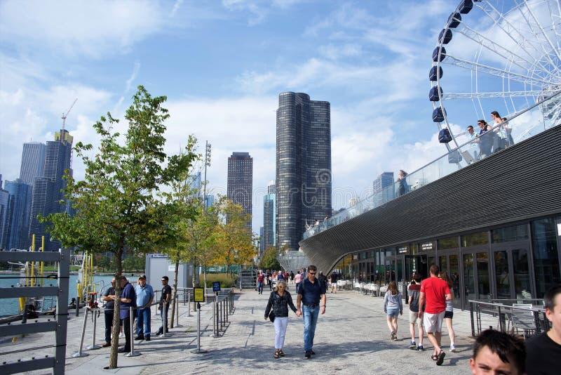 Marin Pier Boardwalk, Chicago, Illinois arkivbild