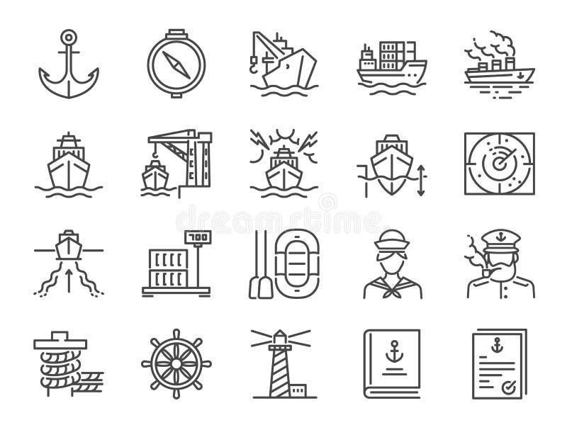 Marin- portsymbolsuppsättning Inklusive symboler som havsfraktservice, skeppet, sändnings, last, behållaren och mer royaltyfri illustrationer