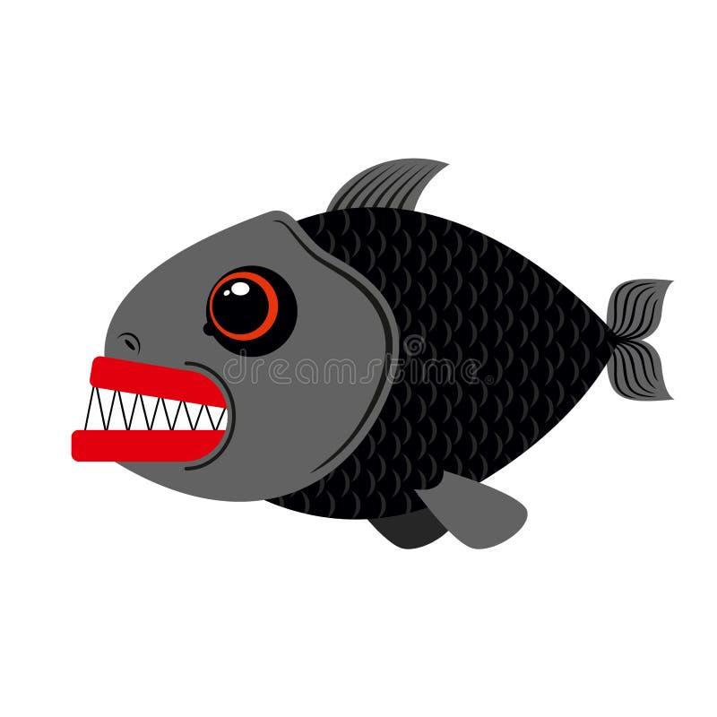 Marin- rovdjur för Piranha på vit bakgrund Ruskiga wi för havsfisk vektor illustrationer