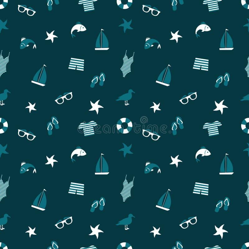 Marin- sömlös modell i blåa skuggor Vektor i CMYK-funktionsläge stock illustrationer