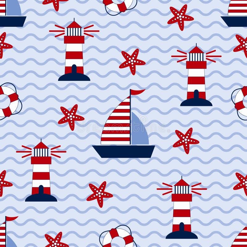 Marin- sömlös modell med skeppet, sjöstjärnan, fyren och livboj Havs- och vågtema royaltyfri illustrationer