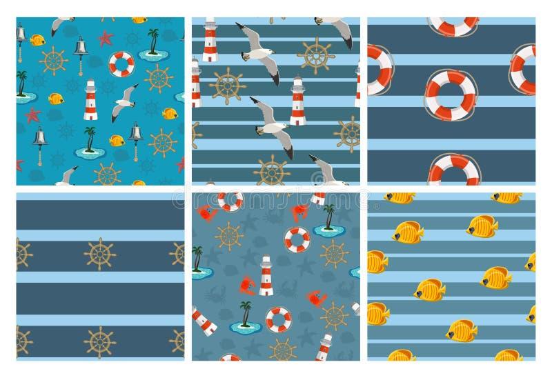 Marin- sömlösa modeller för tapeter, urklippsbok och annan design En samling av 6 vektormodeller royaltyfri illustrationer