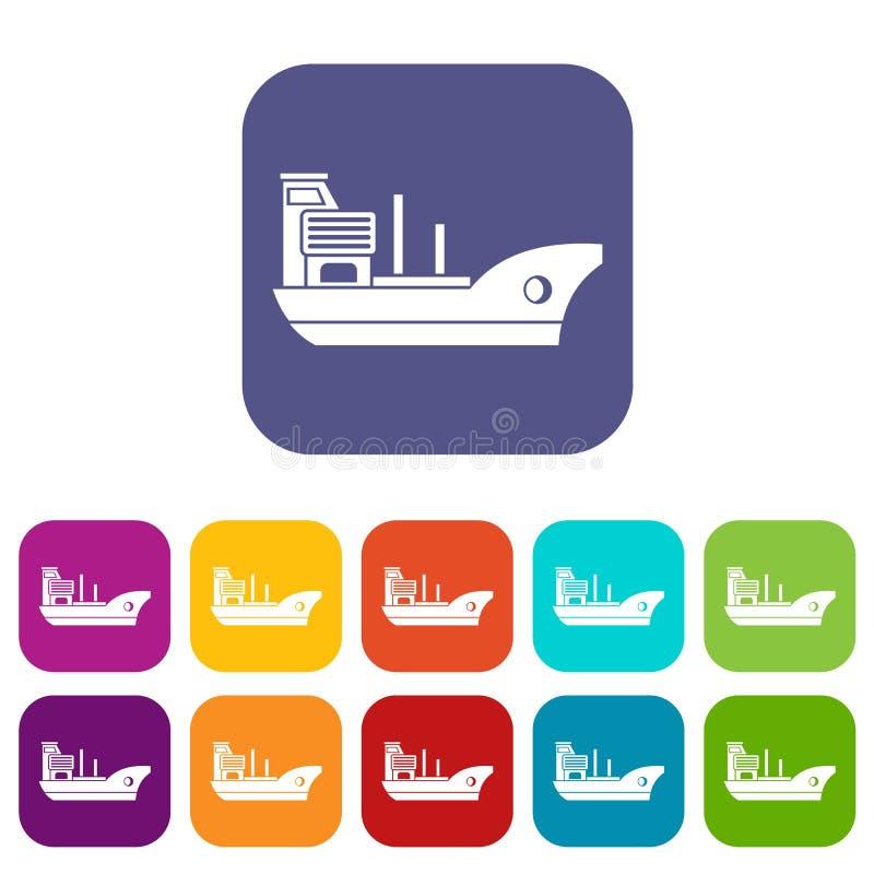 Marin- skeppsymbolsuppsättning vektor illustrationer