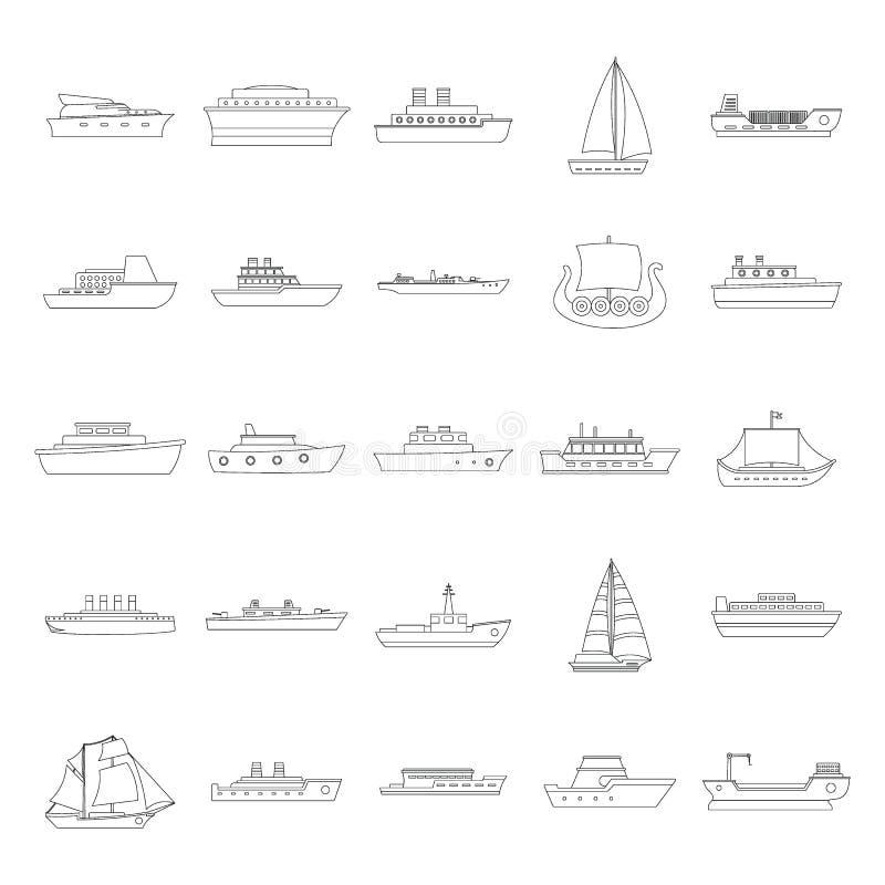 Marin- skyttlar skriver symboler ställer in, skisserar stil royaltyfri illustrationer