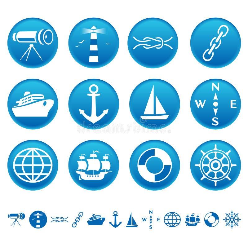 marin- symboler royaltyfri illustrationer