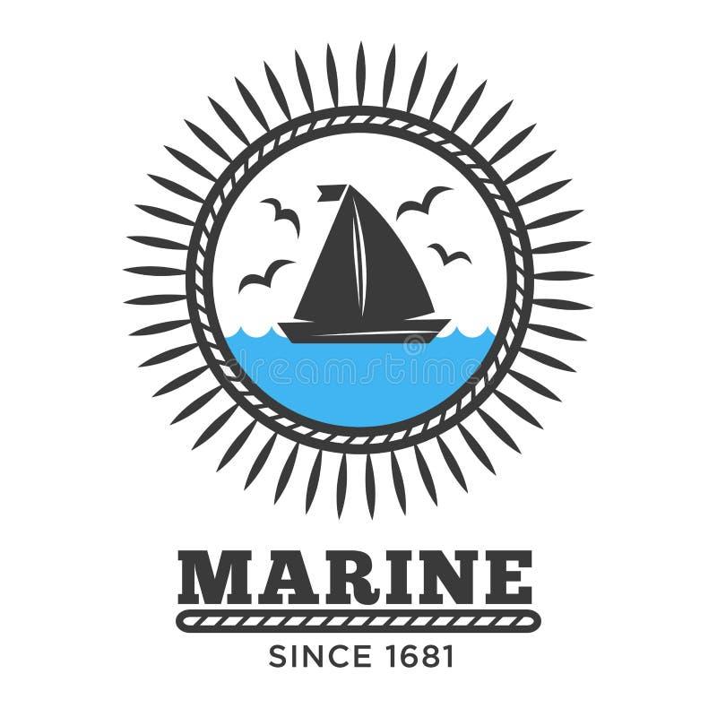 Marin- symbolsegelbåt i havet och fiskmåsar isolerad symbol stock illustrationer