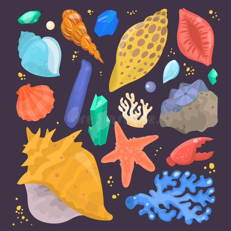 Marin- tecknad film mussla-SHELL för havsskal och isolerad illustration för vektor för havsjöstjärnacoralline vektor illustrationer