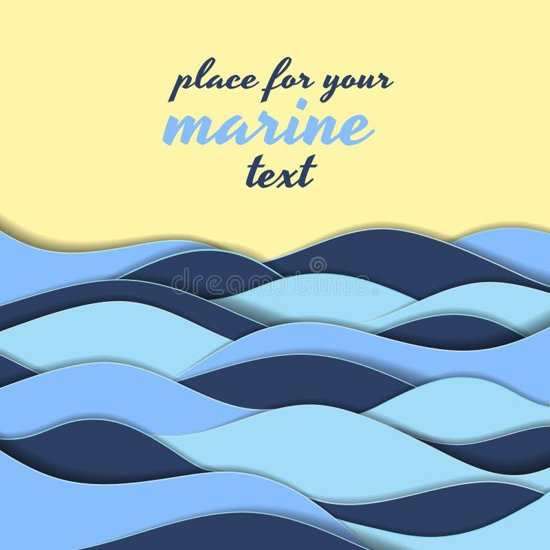 Marin- themed bakgrund av blåa vågor vektor illustrationer