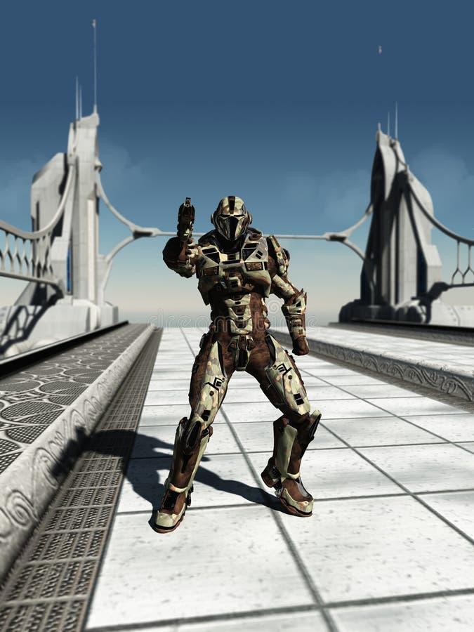 Marin- Trooper för avstånd på bron stock illustrationer