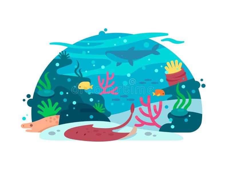 Marin- undervattens- värld royaltyfri illustrationer