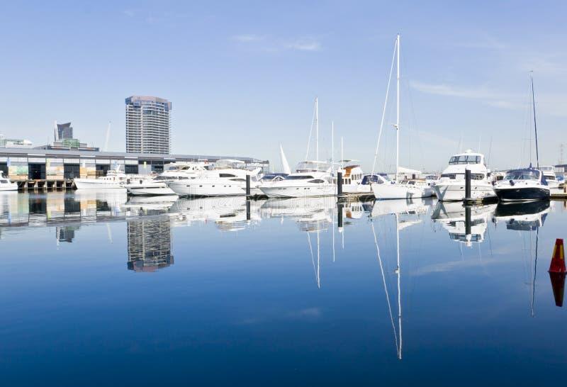Marina. Yachts at Docklands marina, Melbourne, Australia royalty free stock image