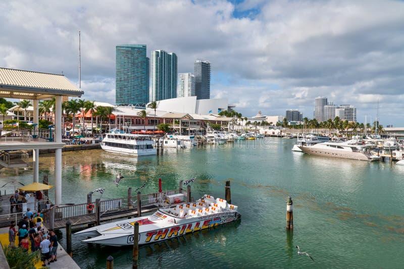 Marina au marché Miami de Bayside image stock
