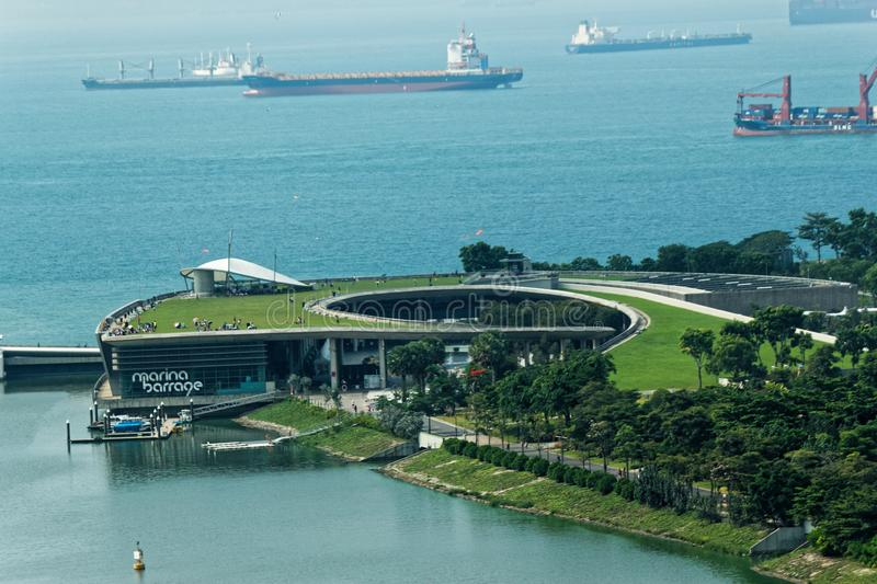 Aerial view Marina Barrage royalty free stock images