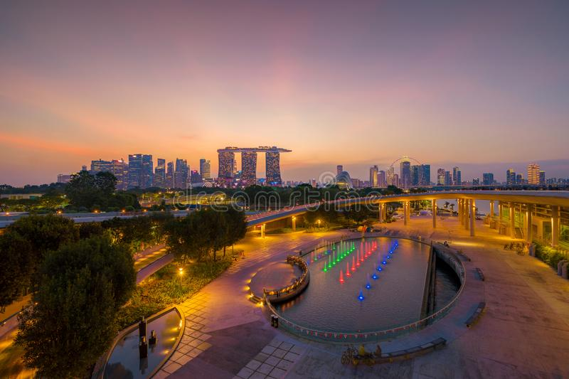 Marina Barrage. Singapore Downtown skyline at sunset. Financial district and business centers in technology smart urban city in. Asia. Skyscraper and high-rise stock photo