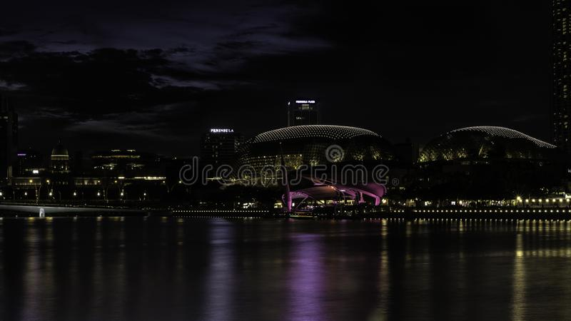 Marina Bay-Evening light-water front-Skyscraper-Reflections royalty free stock photo
