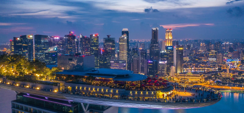Marina Bay Hotel Skypark Skygarden Skybar a Singapore - astronave fotografia stock