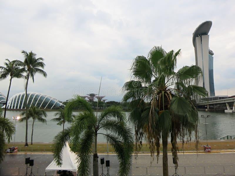 Marina Bay-Luxushotel in Singapur Moderne hohe Geb?ude Architektur und Kunst in der modernen Zivilisation stockfoto