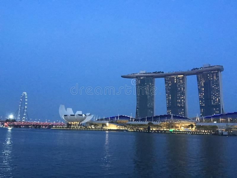 Marina Bay Night Skyline arkivfoton