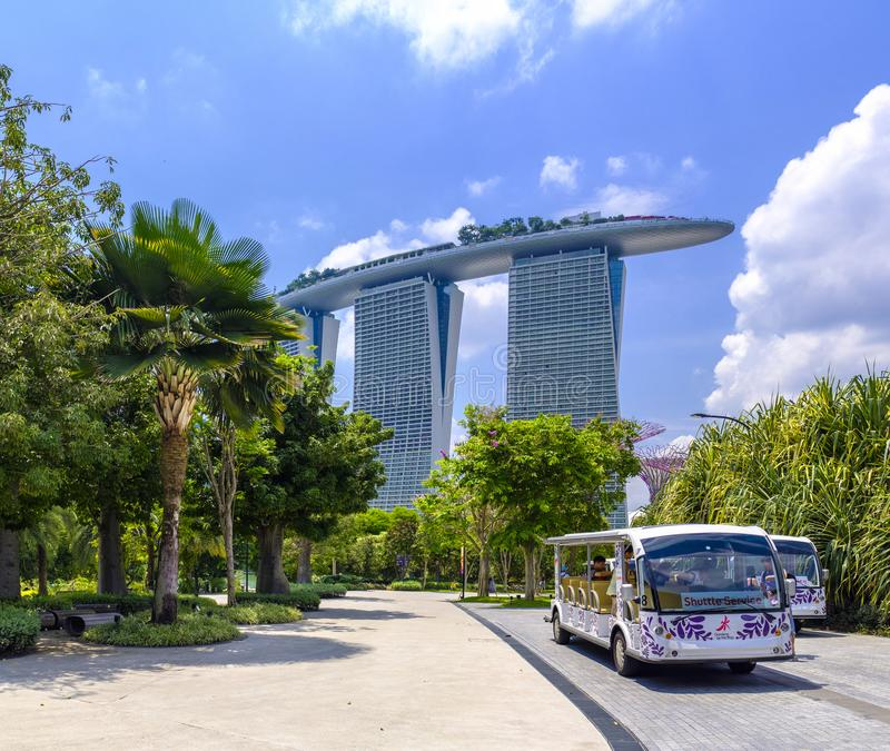 Marina Bay Sands. The Marina Bay Sands in downtown Singapore viewed from the Gardens by the Bay royalty free stock images