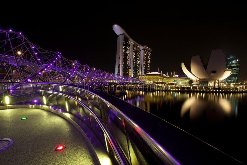 Marina Bay Sands e ponte dell'elica fotografia stock